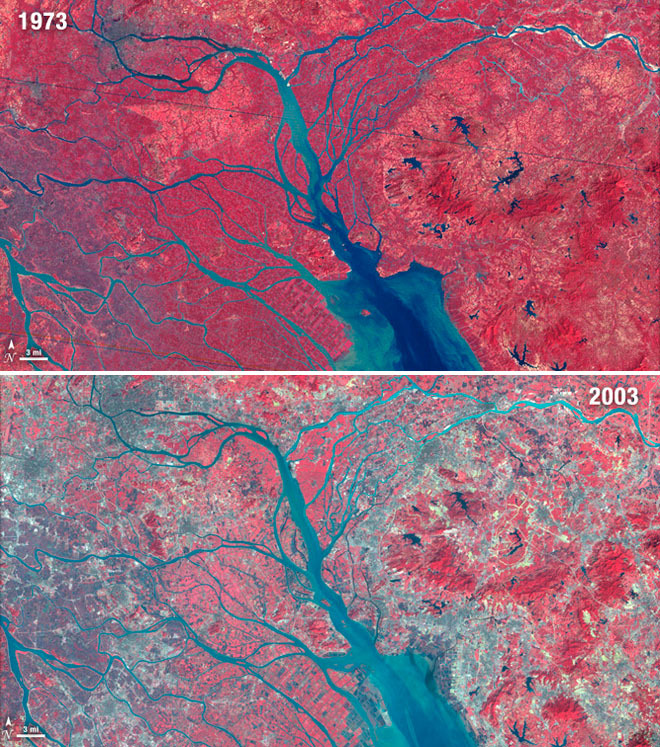 Massive City Growth as Seen From Space As captured from the Landsat 3 satellite, this infrared-range image shows the loss of vegetation due to urban growth around China's Pearl River Delta over a 30 year period. What's with the colors? Vegetation shows up as red in images like these thanks to the expanded infrared spectrum, and urban areas as gray. You can even see a completely new man-made island pop up in the bottom center! Today this region is home to over 36 million people. More shots of urban growth from space at Wired Science. (ᔥ Matthias Rascher)