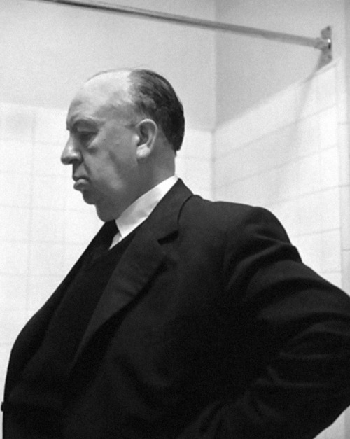 Alfred Hitchcock on the set of 'Psycho', 1960.