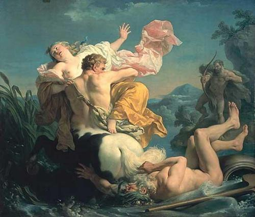 composition-improvisation:  Louis-Jean-François Lagrenée, The Abduction of Deianeira by the Centaur Nessus, c. 1755   (via imgTumble)