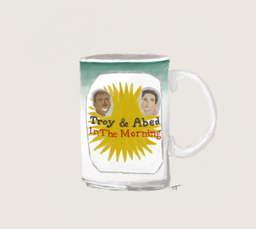 Day 15: Community. Troy and Abed in the MORNING!! I wanted to take a break from drawing people so I drew a mug.  Art by: http://ardentnerd.tumblr.com/