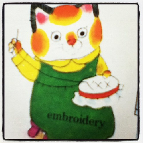 Sally Cat embroiders. (Taken with Instagram)