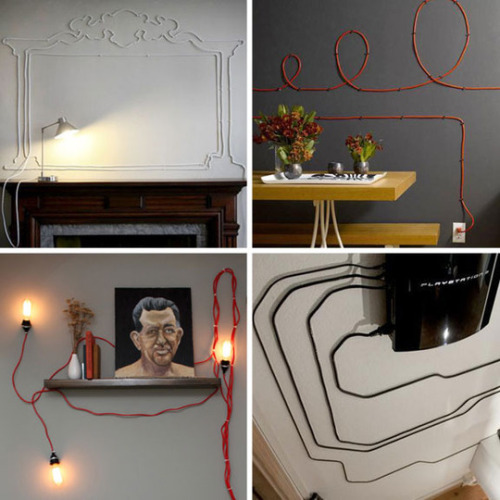 when you can't hide power cables, embrace them! http://www.apartmenttherapy.com/when-you-cant-hide-power-cable-148147