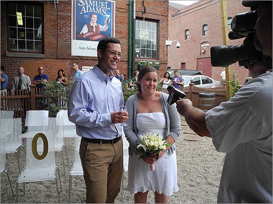 Sam Adams launches Brewlywed ale.  This couple was so excited they got married at the brewery, after a 3-year engagement.