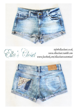 For sale £55Size 6-8denim shorts with studded back pocket. contact us at info@ellascloset.co.uk if interested in purchasing.we can customise them more to your taste if you wish.