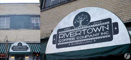 new logo & hand-painted sign for rivertown coffee co. #shoals