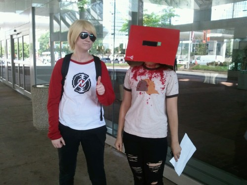alekpines:  Greetings from Otakon  I'm pretty sure I saw these two walking out of the building like from behind. But I'm like 99% sure everyone I'm staying with hates Homestuck so I'm going to be ostracized if I chase cosplayers down. D':