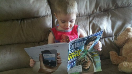 rackfocus85:  Noah's a Doctor Who fan. Totally stoked for the new issue of EW.  This child is AMAZING