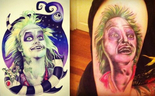 collegehumor:  Beetlejuice Tattoo Fail Perfect. Don't change a thing.