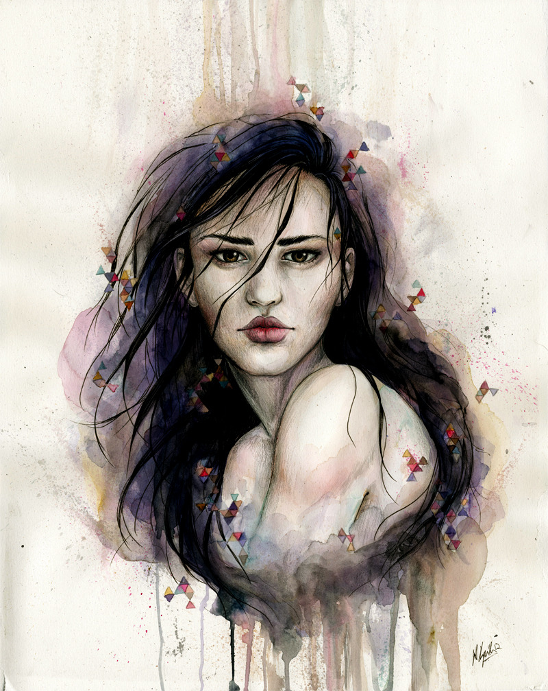 """Remote"" Ink, graphite, and watercolor. 2012 ———- She's done! Thank you all for your great response to the progress photo, and hello to my new followers!"
