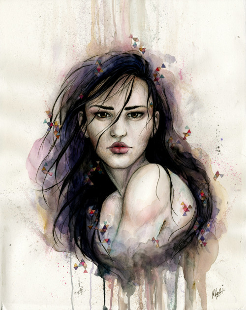 "naylasmith:  ""Remote"" Ink, graphite, and watercolor. 2012 ———- She's done! Thank you all for your great response to the progress photo, and hello to my new followers!"