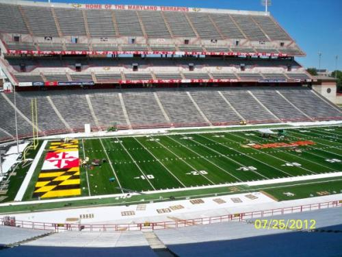 Byrd Stadium's turf coming along nicely  Photo courtesy of @UMDGroundsCrew