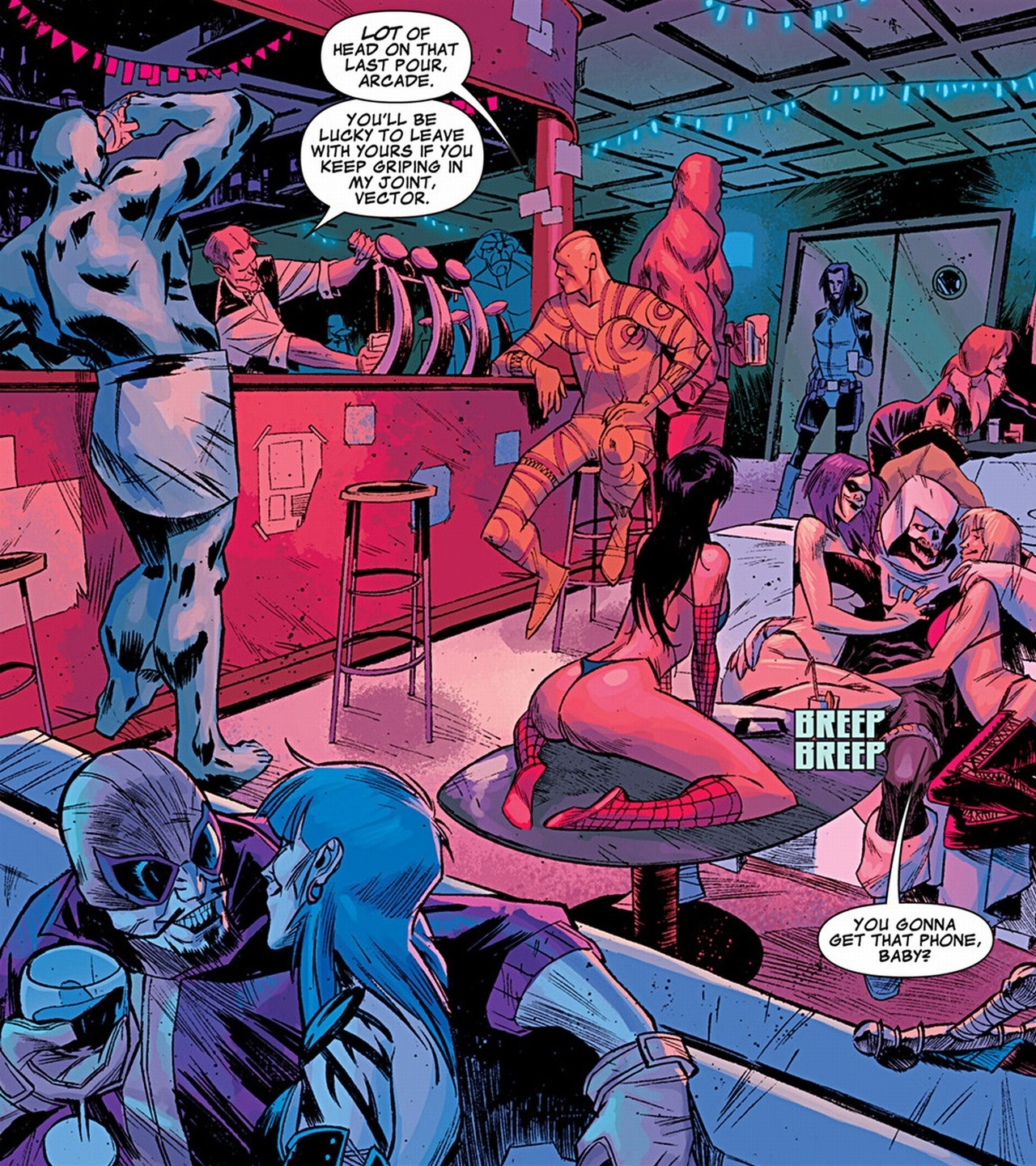From Secret Avengers #29 by Remender/Scalera. (the idea that there's a strip club where Taskmaster and Batroc the Leaper hang out amuses me… Madame Masque is in the background too, but I think if she could have a facial expression it would be an unhappy one)