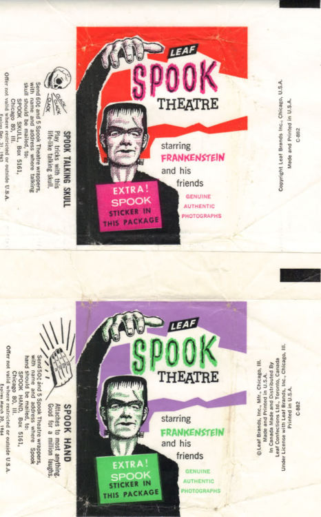Spook Theatre gum card wrappers (1963-1964)