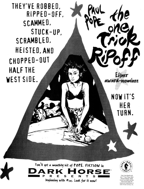 Promotional ad for The One Trick Ripoff in Dark Horse Presents by Paul Pope, 1995.