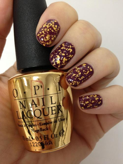 "OPI:   We have a VERY special treat in store for all of you this Holiday! In celebration of James Bond's Golden Anniversary we are releasing our first-ever 18 karat gold leaf top coat ""The Man with the Golden Gun"" Inspired by the world of 007, this stunning top coat contains real 18 karat gold and comes packaged in a special limited edition collectable gold bottle – the ultimate holiday gift! Available this October ~  Ugh! I bet it's going to be super expensive, but I want!!!!"