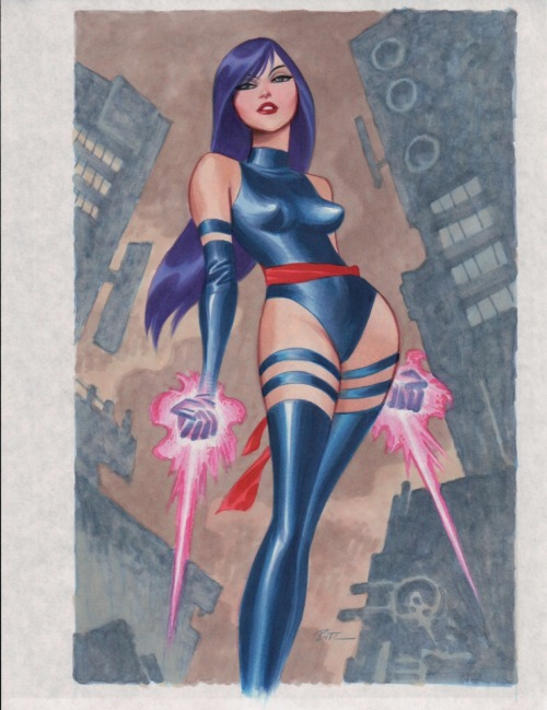 "geekvariety:  Bruce Timm  /  ""Psylocke"" Seriously, Timm just makes my heart skip a beat with his art, especially when he draws Psylocke or Baroness!"