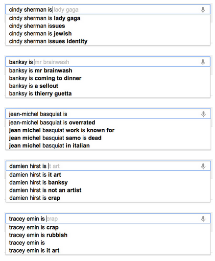awesome list of google predictive search, as it applies to contemporary artists compiled by Hyperallergic