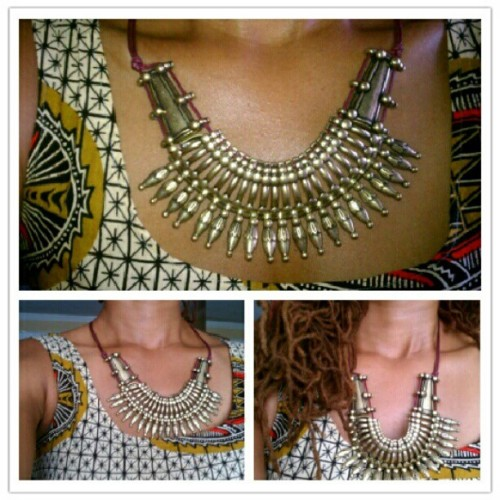 I like this #necklace #accessories #tribal #ethnic #jewelry #africanfabric  (Taken with Instagram)
