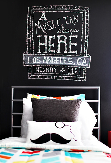 chalkboard on a bedroom wall (via Design Tools » 7th House on the Left)