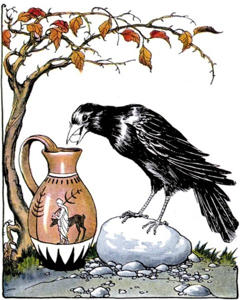 rhamphotheca:  Clever Crows and the Wisdom of Not Being TOO Rational by Michael Balter A new study finds that both young children and members of the crow family are good at solving this problem, but children appear to learn it in a very different ways from birds. Recent studies, particularly ones conducted by Nicola Clayton's experimental psychology group at the University of Cambridge in the United Kingdom have shown that members of the crow family are no birdbrains when it comes to cognitive abilities. They can make and use tools, plan for the future, and possibly even figure out what other birds are thinking, although that last claim is currently being debated. A few years ago, two members of Clayton's group showed that rooks can learn to drop stones into a water-filled tube to get at a worm floating on the surface. And last year, a team led by Clayton's graduate student Lucy Cheke reported similar experiments with Eurasian jays: Using three different experimental setups, Cheke and her colleagues found that the jays could solve the puzzle as long as the basic mechanism responsible for raising the water level was clear to the birds… (read more: Science NOW)       (image: public domain clipart)