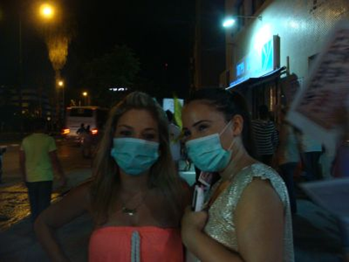 "kaminapan:  israelfacts:  Israelis wear surgical masks during a protest against the presence of refugees in their neighborhoods to symbolize their belief that Africans carry contagious diseases. (Photo: Mya Guarnieri) +972mag:  Approximately 50 south Tel Aviv residents protested last night against the presence of African asylum seekers in their neighborhoods. Protesters waved Israeli flags and held signs that read ""I voted for Bibi and I got screwed,"" ""We want a solution here and now,"" and ""Bibi, you asked [for us] not to take the law into [our] hands. What have you done?"" Another sign punned on the Hebrew word for minister (sar) to declare Interior Minister Eli Yishai a ""Tzar"" who will face ""Judgment Day."" The group marched to the police station in Jaffa and called on the state to deport African refugees. Some of the demonstrators wore surgical masks. Protesters explained that they were meant to symbolize that Africans carry contagious diseases, a claim Yishai made in 2009. The protest was smaller than previous demonstrations of its kind, giving the impression, perhaps, that things have quieted down. But there have nonetheless been isolated incidents of violence against African asylum seekers in recent weeks. In early June, following the May 23 race riots in south Tel Aviv that left dozens of Africans injured, a Sudanese refugee was attacked in south Tel Aviv. According to the Hotline for Migrant Workers, the injuries were so severe the man had to be hospitalized. Less than two weeks ago, a Jerusalem apartment that is home to Eritrean refugees was set on fire. Two people were injured in the attack, including a pregnant woman. Israel is home to around 60,000 African asylum seekers, a majority of whom have fled to Israel from Eritrea and Sudan. The state is currently deporting South Sudanese and Yishai and other government officials have vowed to rid the country of Africans. A massive prison camp for Africans is currently being built in the south of Israel.   Mouth  agape. Like in America we have code words for black people or minorities so that people can say racist things without being racist like ""people shouldn't be welfare queens"" or whatever so it amazes me that A GROUP OF PEOPLE CAN BE THIS BLATANTLY RACIST WITHOUT BEING ASHAMED. 'AFRICANS CARRY DISEASES'??? WHAT IS WRONG WITH YOU"
