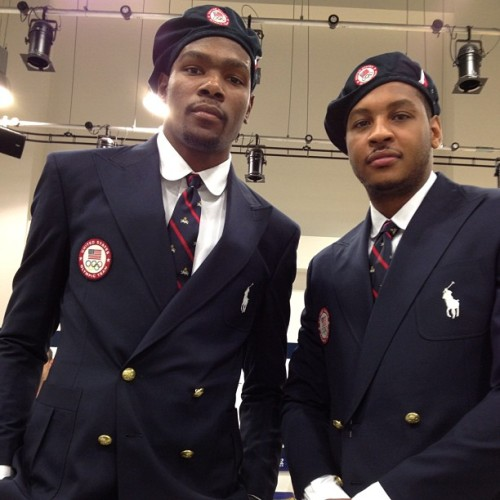 dtnat:  Melo and KD looking fresh for the Olympics. From Kevin Love's Instagram.