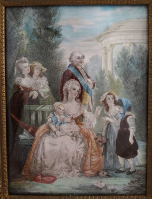 On ebay: Early 20th century miniature of Marie Antoinette, Louis XVI and their family at the Petit Trianon. After an unknown painting or engraving.