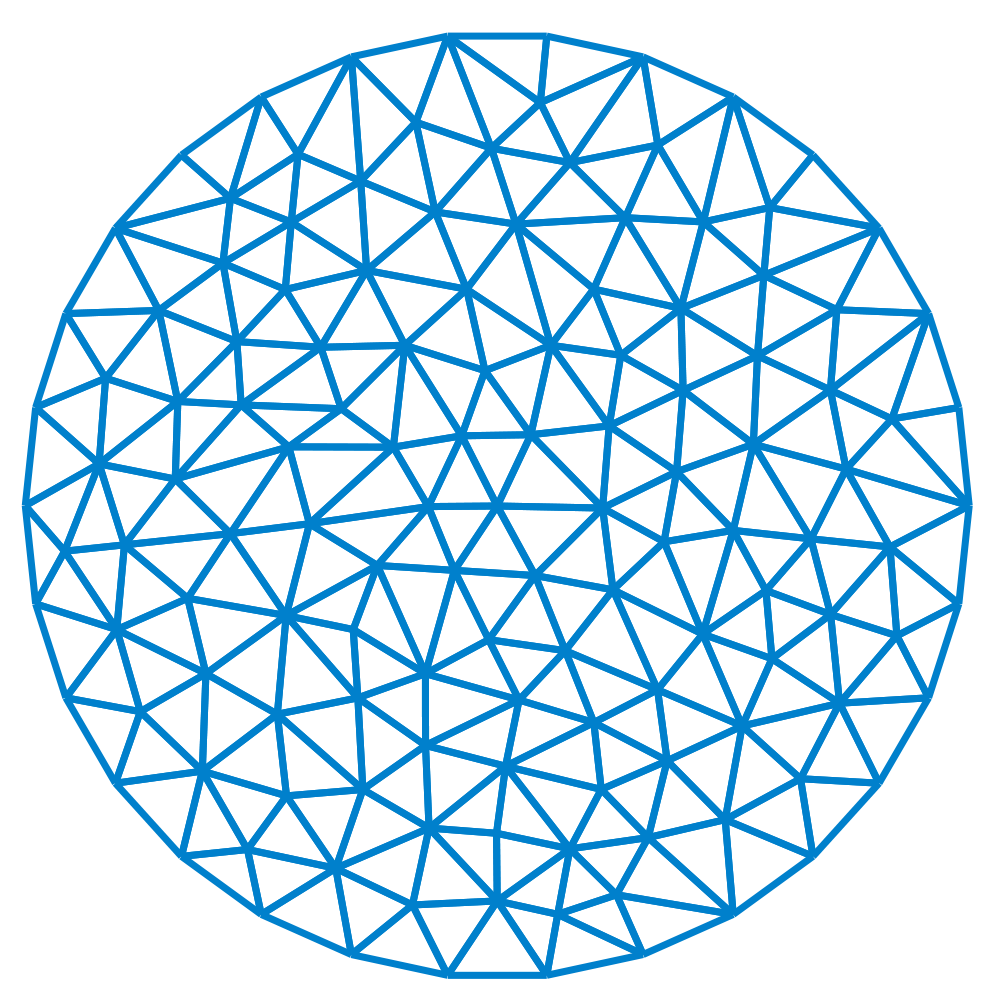 youmightfindyourself:  A tessellation of a disk used to solve a finite element problem.