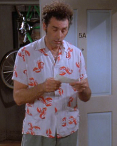 KRAMER'S LOBSTER SHIRT Perfect for that summer trip to The Hamptons. Seinfeld (1990 - 1998), created by: Jerry Seinfeld and Larry David, costume design by: Charmaine Nash Simmons