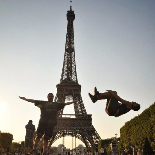 Le Backflip. At the Eiffel Tower with @rotolo in Paris, France.  (Taken with Instagram at Tour Eiffel)