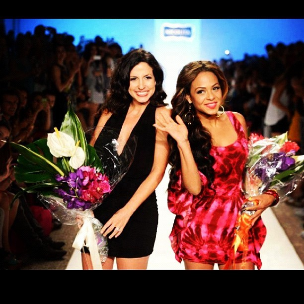 I love this pic of @mynicolita and I out our swimwear show last weekend in #miami #mbfwswim our smiles are from ear to ear #fashion #red #fuscia #havananights I'm wearing one of my coverups! You like? (Taken with Instagram)