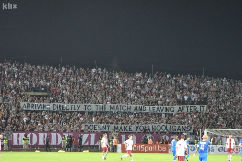 "FK Sarajevo fans vs Levski Sofia in Europa League tonight!  ""Arriving directly to the match and leaving after it doesn't make you hooligans!"""