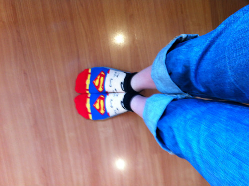 I need my superman socks to help me battle through this exhaustion from English Camp.