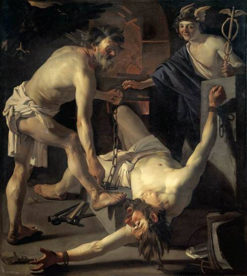 """Prometheus Being Chained by Vulcan"" by Dirck van Baburen (1623)"
