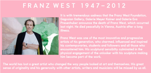 Franz West, you will be missed.