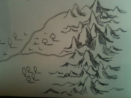 Part of the Misty Mountains, specifically the Ettinmoors, inked in my Moleskine. We're in Troll Country now.