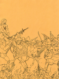"Early Territorial Skirmishes (I)by Matt Lock approximately than 18"" x 24"" on canvas boardSOLD on display at Domy Books in Austin, Texas until August 30 $15 Shipping/Handling (with refunds for multiple purchases)Questions? Call (512) 476-3669 or email us here"