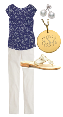 OOTD | July 26 Splendid top J.Crew pants pearl earrings Max & Chloe monogram necklace Jack Rogers sandals Disclaimer: Don't expect these OOTDs every day. You are lucky I'm not wearing norts.