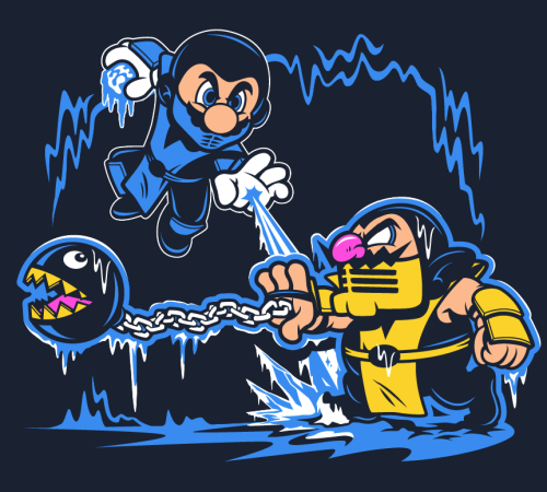 "fuckyeahhylianbadass:  harebrained:  Just finished this ""Mario Kombat""! Get it at the Harebrained RedBubble store! Follow Harebrained on Facebook!  Too awesome!"