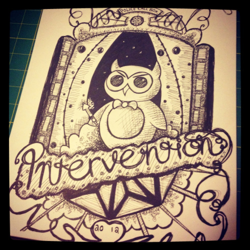 Doctor Hoot! Con T Shirt art for http://www.Interventioncon.com