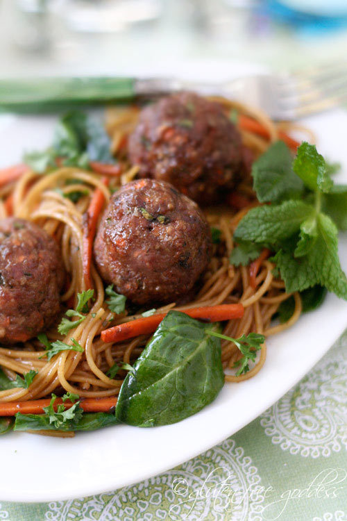 Turkey Meatballs with Asian Noodles