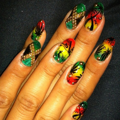 Rastafarian #nail #nailart  (Taken with Instagram)