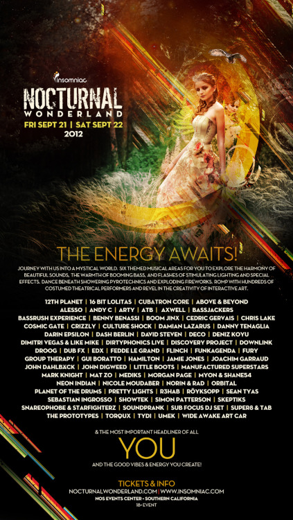 theboredkid:  Nocturnal 2012 linup!  Pretty stoked on all the new names. I also have a feeling i'll actually have time to go to other stages enjoy different types of music so thats perfect :) amped on culture shock, prototypes, hamilton, planet of the drums, Andy c, and Sean tyas & Simon Patterson because their set at EDC last year was one of my all time favorites.