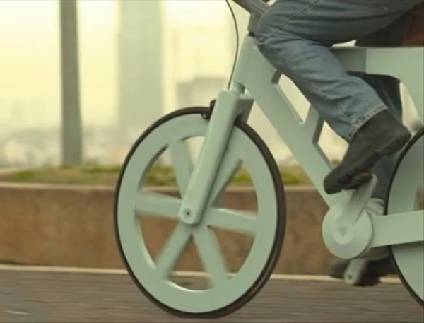 "prostheticknowledge:  Recycled Cardboard Bike  Environmentally friendly, strong, and extremely cheap ($9!) - via Made In Israel:  They are made of recycled cardboard, can withstand water and humidity, cost nearly nothing – and might the concept of green vehicle. Izhar Gafni is a Kibbutz resident, who decided to prove to his fellow engineers that he could make a bicycle at nearly no cost. ""They said it was impossible"" Izhar Gafni, originally from Kibbutz Bror Hayil in the Negev, took the most popular and widely sold vehicle in the community and decided to turn it into an entirely green private venture. Gafni's bicycle redefines the idea of green transportation in every way, being environmentally friendly from early stages of production all the way through creation of the final product. The bicycles are made out of recycled and used cardboard. … Gafni said that the production cost for his recycled bicycles is around $9-12 each, and he estimates it could be sold to a consumer for $60 to 90, depending on what parts they choose to add.  Here is a 6 minute video, where the inventor guides us himself how this project came about:  Izhar cardboard bike project from Giora Kariv on Vimeo. You can read more about it here"