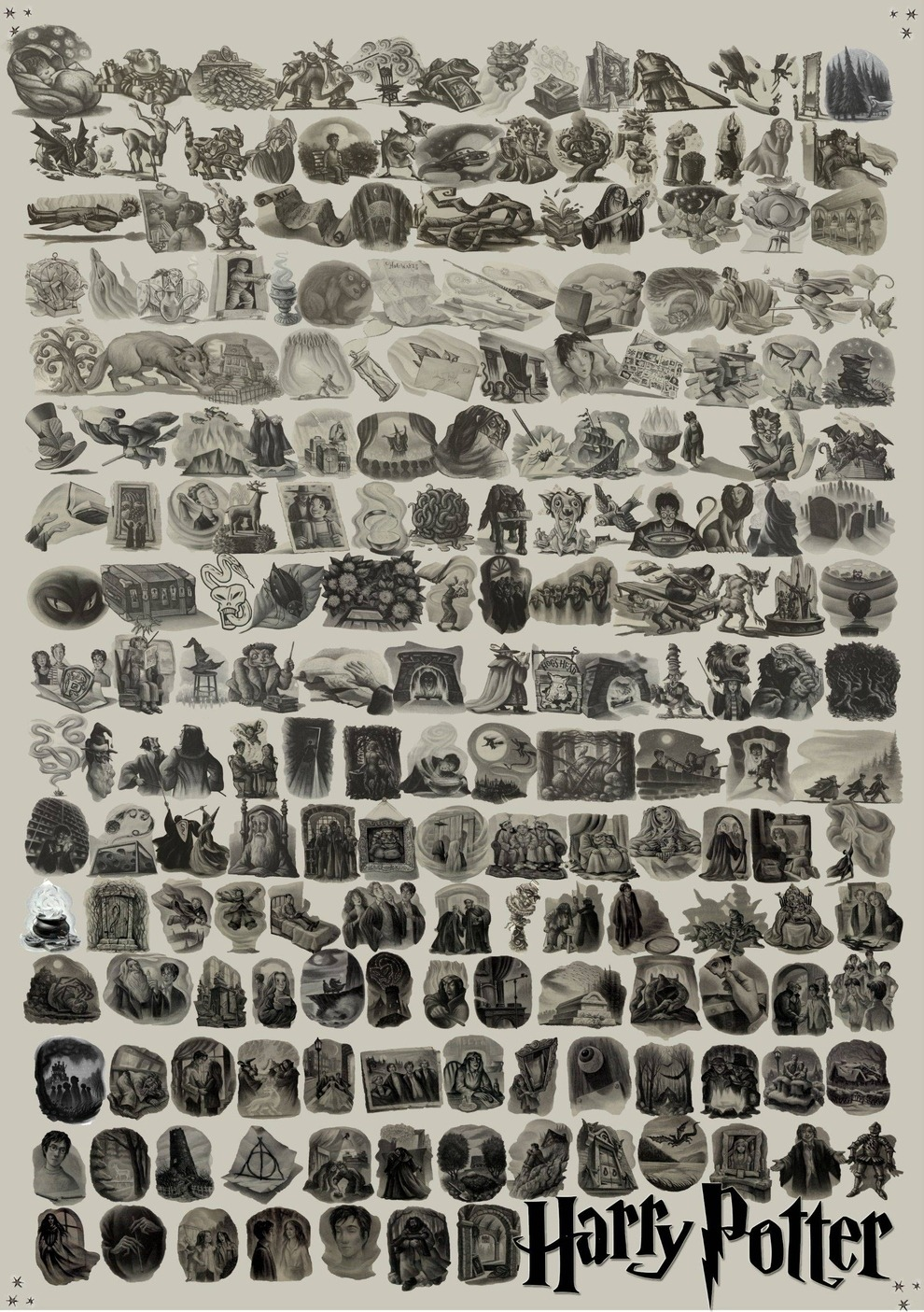 Every Harry Potter chapter illustration