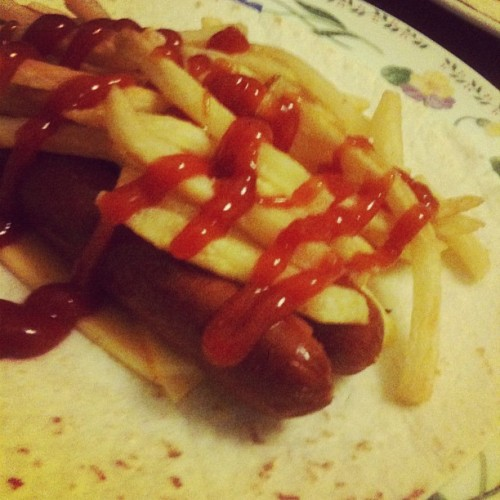 2 cheese hot dog dinner wrap. #wrap #hotdog #fries #delicious  (Taken with Instagram)