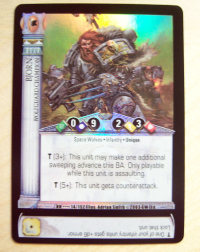 Horus Heresy Collectible Card Game #15 Bjorn, Wolfguard Champion Foil Yes, it's THAT Bjorn, later known as Bjorn the Fell-Handed, member of Leman Russ's personal retinue. He was chosen as the leader of his legion after the disappearance of Russ, becoming the chapter's first Great Wolf. Bjorn is now entombed in a Venerable Dreadnaught and is one of the few known survivors of the Heresy Era.  #Warhammer40k #HorusHeresy #CCG #SpaceWolves