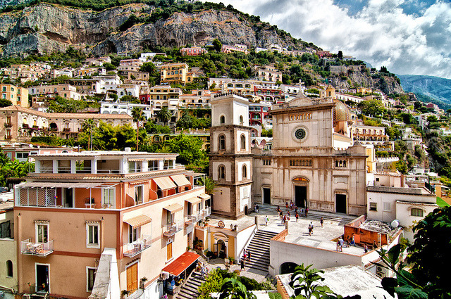 | ♕ |  Piazza Duomo and hillside villas - Positano  | by © Joe Eisner