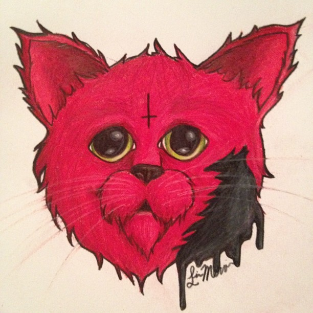 I See a Red Cat and I Want to Paint It Black Pencil crayon on paper~ Liv Mervin July 2012