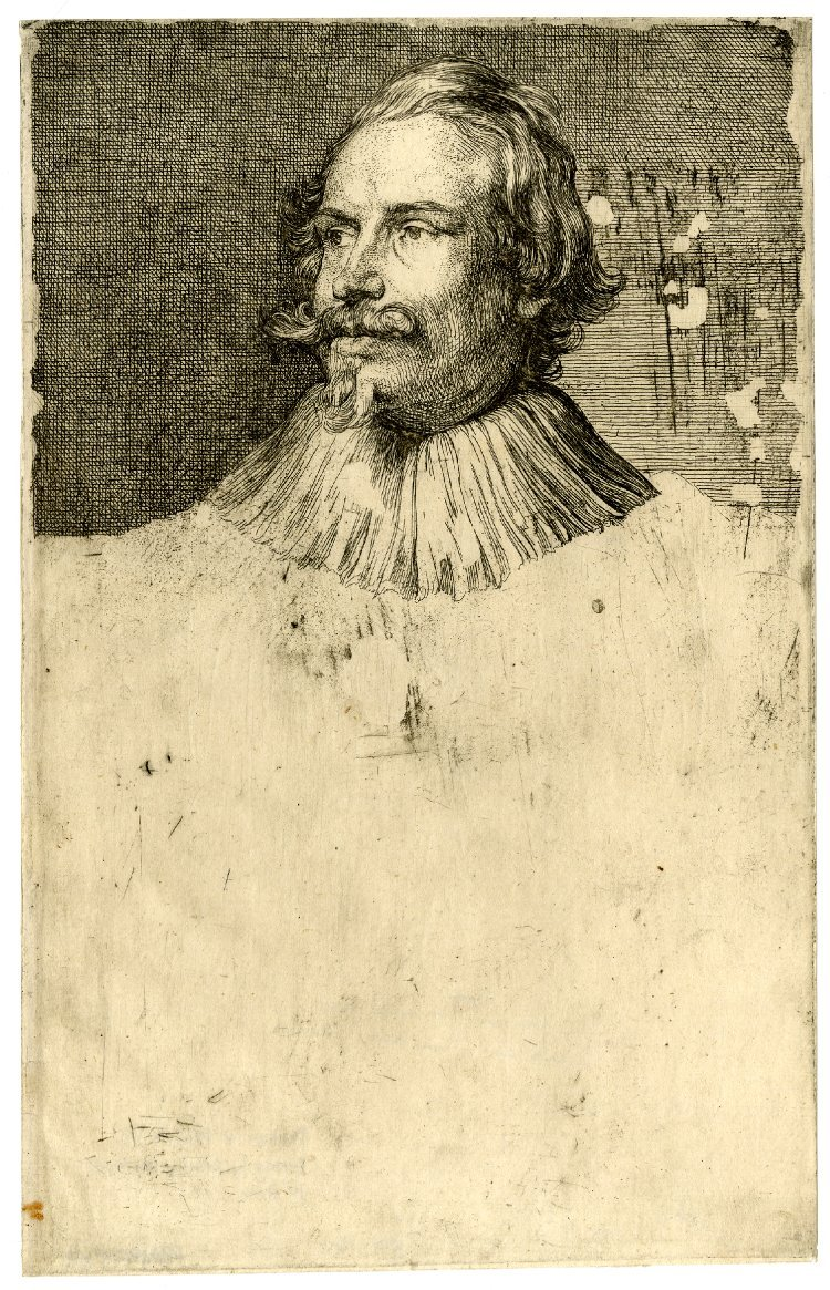 Icones Principum Virorum, Portrait of Paul de Vos, first state with head only. Etching with engraving. ~1630-40 (British Museum)